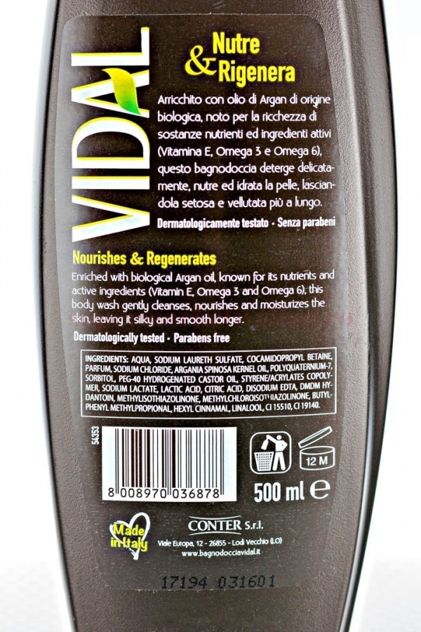 Gel de dus Vidal cu ulei de argan 500 ML 3