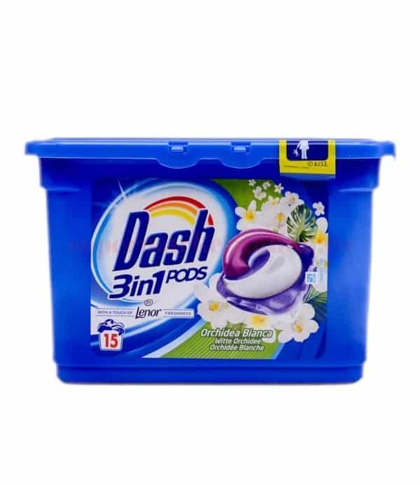 Detergent Dash pernute 3 in 1 15 pernute Salva Colore Orhidee Alba 1