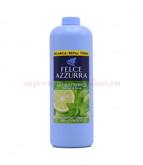 Rezervă săpun lichid Felce Azzurra Antibacterian cu mentă și lămâie verde 750 ml 8001280024344