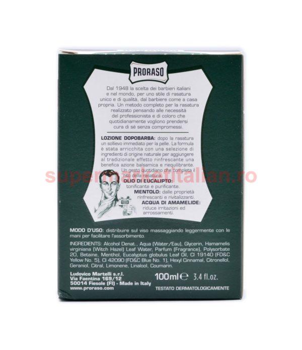 Loțiune după bărbierit Proraso cu Ulei de Eucalipt și Mentol 100 ml 8004395009701 3