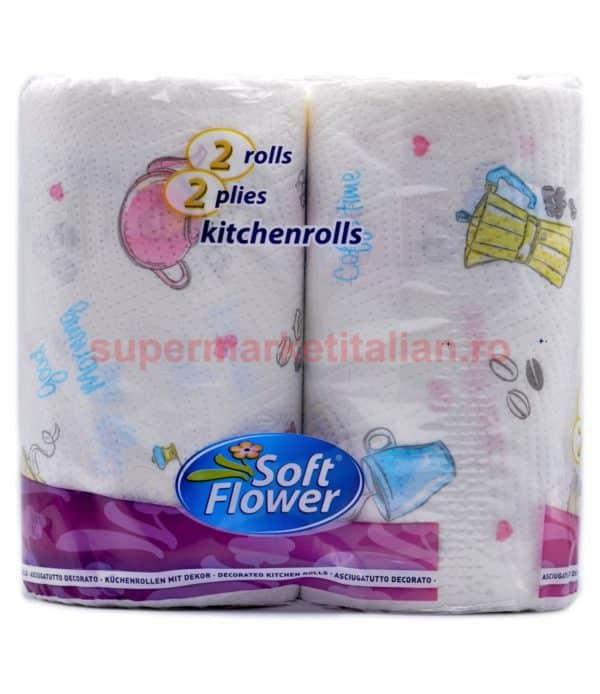 Prosoape de hârtie Soft Flower 2 role 2 straturi 100 de foi 8003885222002 1