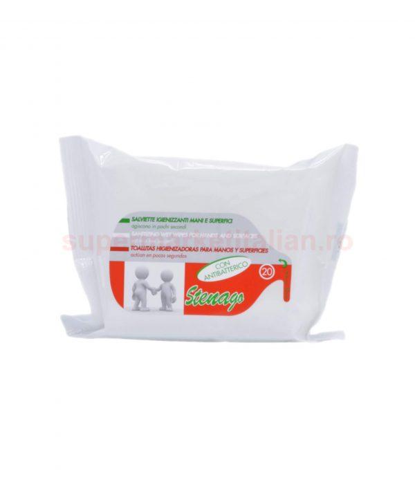 ervețele umede antibacteriene Stenago pentru mâini și suprafețe 20 bucăți 8014002002308 1